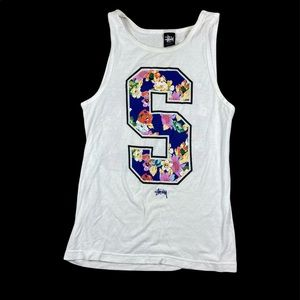 womens stussy white floral tank top size small